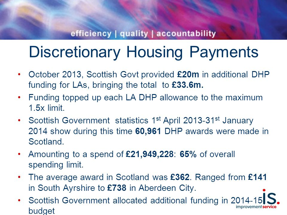 Discretionary Housing Payments October 2013, Scottish Govt provided £20m in additional DHP funding for LAs, bringing the total to £33.6m.