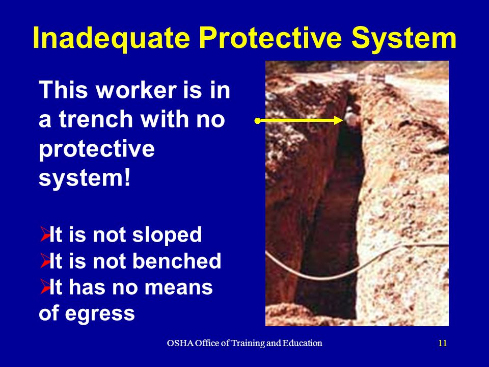 OSHA Office of Training and Education11 Inadequate Protective System l This worker is in a trench with no protective system.