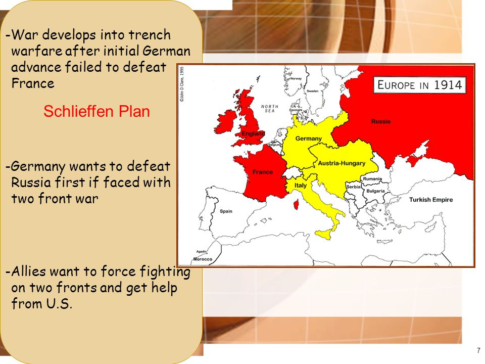 7 -War develops into trench warfare after initial German advance failed to defeat France Schlieffen Plan -Germany wants to defeat Russia first if faced with two front war -Allies want to force fighting on two fronts and get help from U.S.