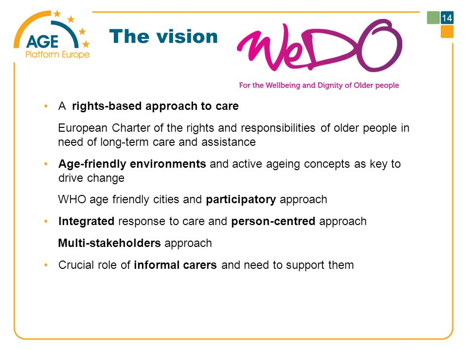 The vision A rights-based approach to care European Charter of the rights and responsibilities of older people in need of long-term care and assistance Age-friendly environments and active ageing concepts as key to drive change WHO age friendly cities and participatory approach Integrated response to care and person-centred approach Multi-stakeholders approach Crucial role of informal carers and need to support them 14