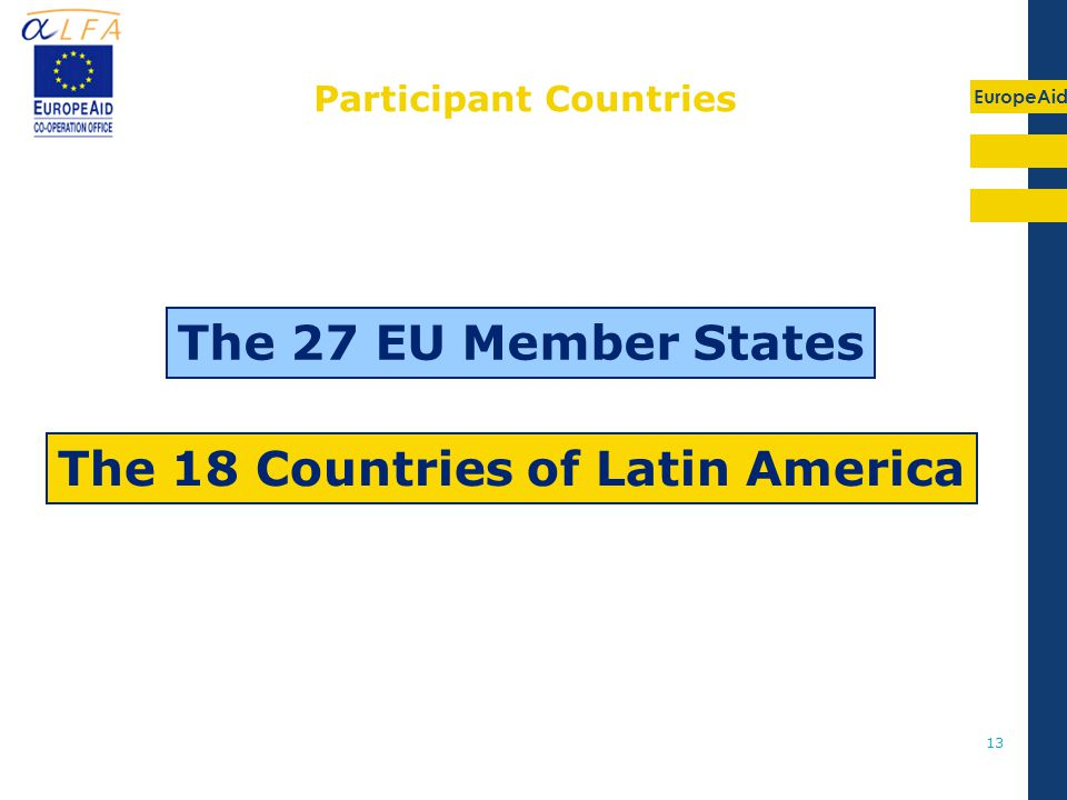 EuropeAid 13 The 27 EU Member States The 18 Countries of Latin America Participant Countries