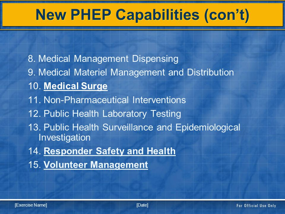 [Date] [Exercise Name] New PHEP Capabilities (con't) 8.