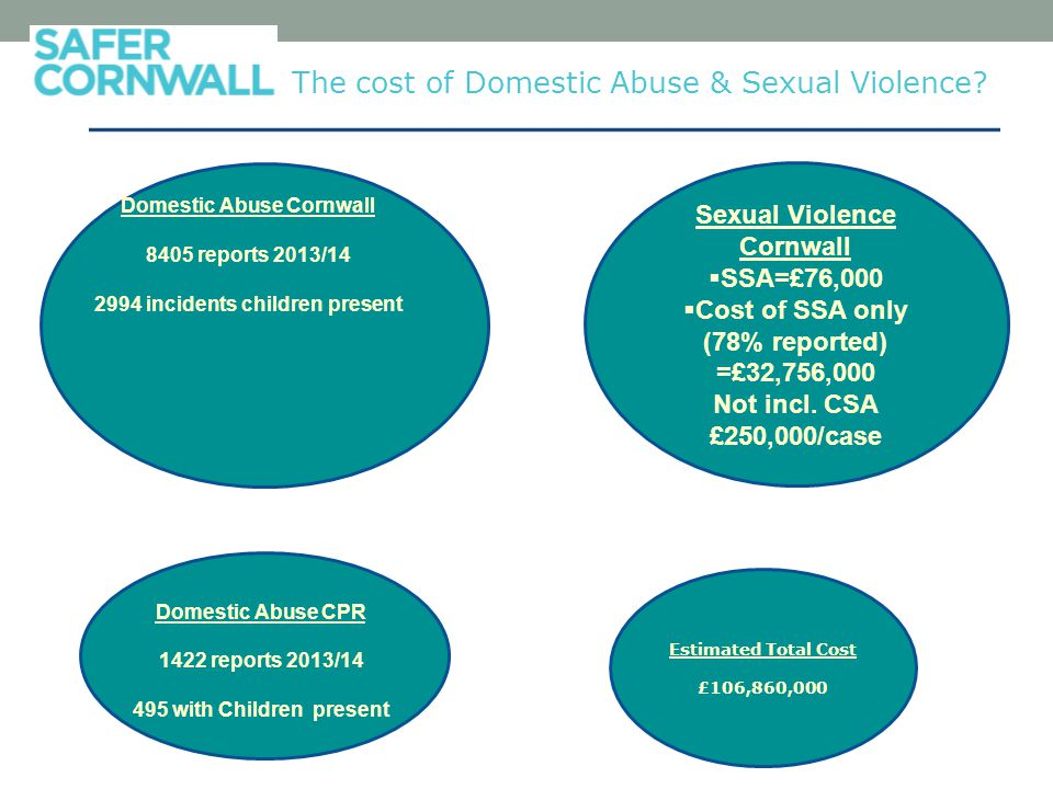 Estimated Total Cost £106,860,000 The cost of Domestic Abuse & Sexual Violence.