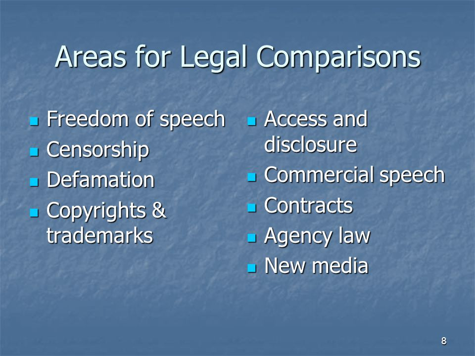 Areas for Legal Comparisons Freedom of speech Freedom of speech Censorship Censorship Defamation Defamation Copyrights & trademarks Copyrights & trademarks Access and disclosure Access and disclosure Commercial speech Commercial speech Contracts Contracts Agency law Agency law New media New media 8