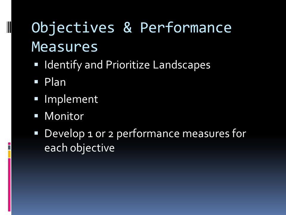 Objectives & Performance Measures  Identify and Prioritize Landscapes  Plan  Implement  Monitor  Develop 1 or 2 performance measures for each objective