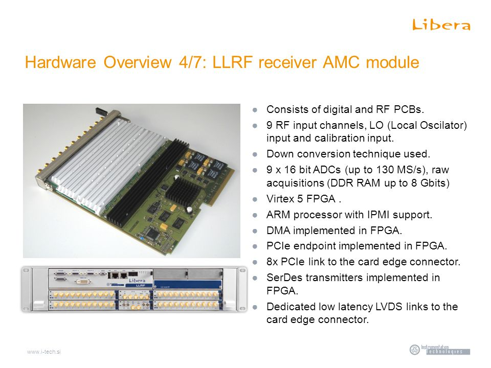 Hardware Overview 4/7: LLRF receiver AMC module ●Consists of digital and RF PCBs.