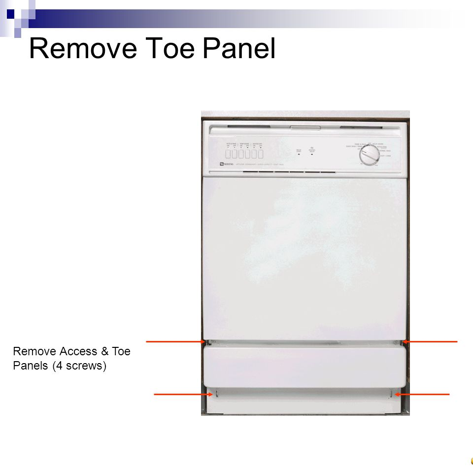 Dishwasher Rework Identify Unit Disconnect Power Turn Off Breaker Unplug 4 Remove Toe Panel Access Panels Screws