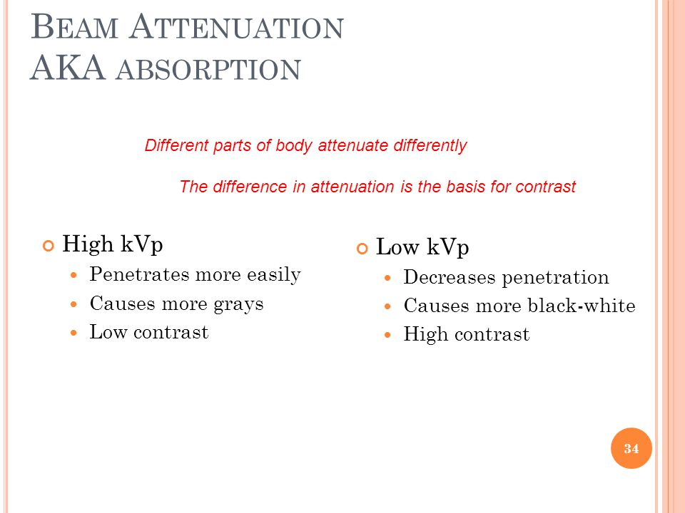 B EAM A TTENUATION AKA ABSORPTION High kVp Penetrates more easily Causes more grays Low contrast Low kVp Decreases penetration Causes more black-white High contrast Different parts of body attenuate differently The difference in attenuation is the basis for contrast 34