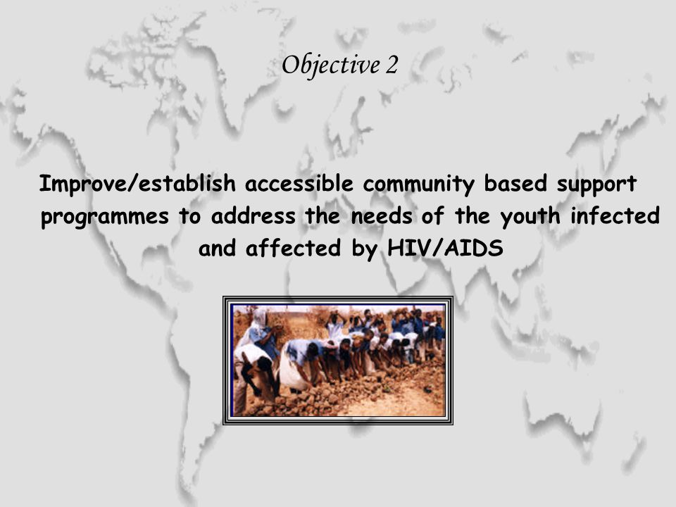 Objective 2 Improve/establish accessible community based support programmes to address the needs of the youth infected and affected by HIV/AIDS