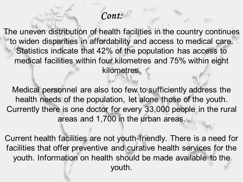 The uneven distribution of health facilities in the country continues to widen disparities in affordability and access to medical care.