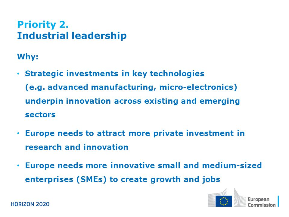 Priority 2. Industrial leadership Why: Strategic investments in key technologies (e.g.