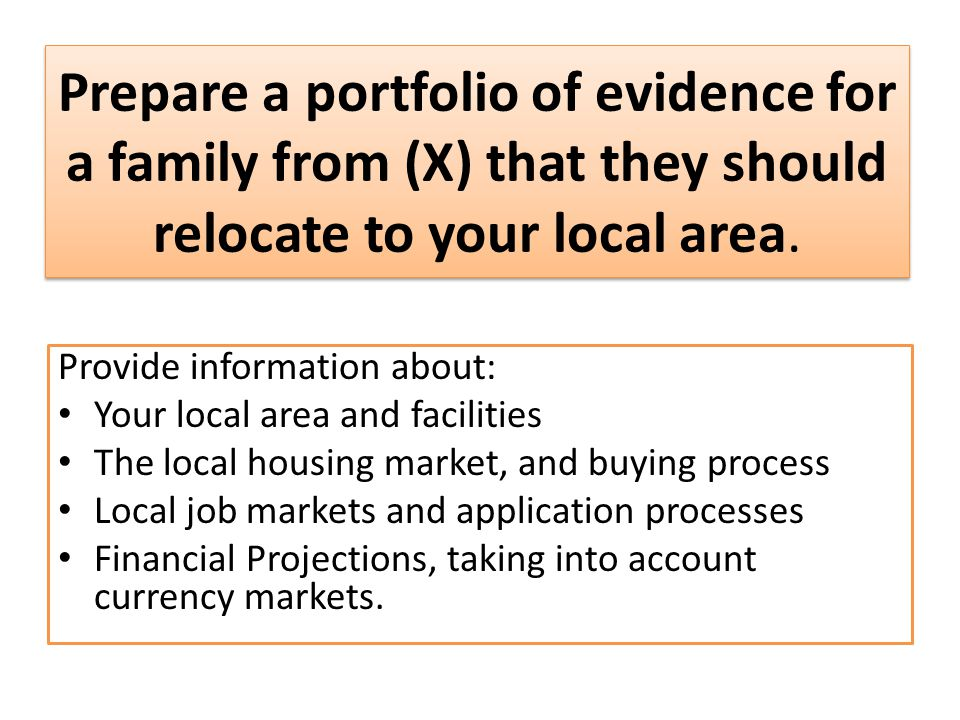 Prepare a portfolio of evidence for a family from (X) that they should relocate to your local area.