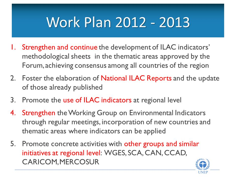 Objetivos de la Red Intergubernamental Work Plan Strengthen and continue the development of ILAC indicators' methodological sheets in the thematic areas approved by the Forum, achieving consensus among all countries of the region 2.Foster the elaboration of National ILAC Reports and the update of those already published 3.Promote the use of ILAC indicators at regional level 4.Strengthen the Working Group on Environmental Indicators through regular meetings, incorporation of new countries and thematic areas where indicators can be applied 5.Promote concrete activities with other groups and similar initiatives at regional level: WGES, SCA, CAN, CCAD, CARICOM, MERCOSUR