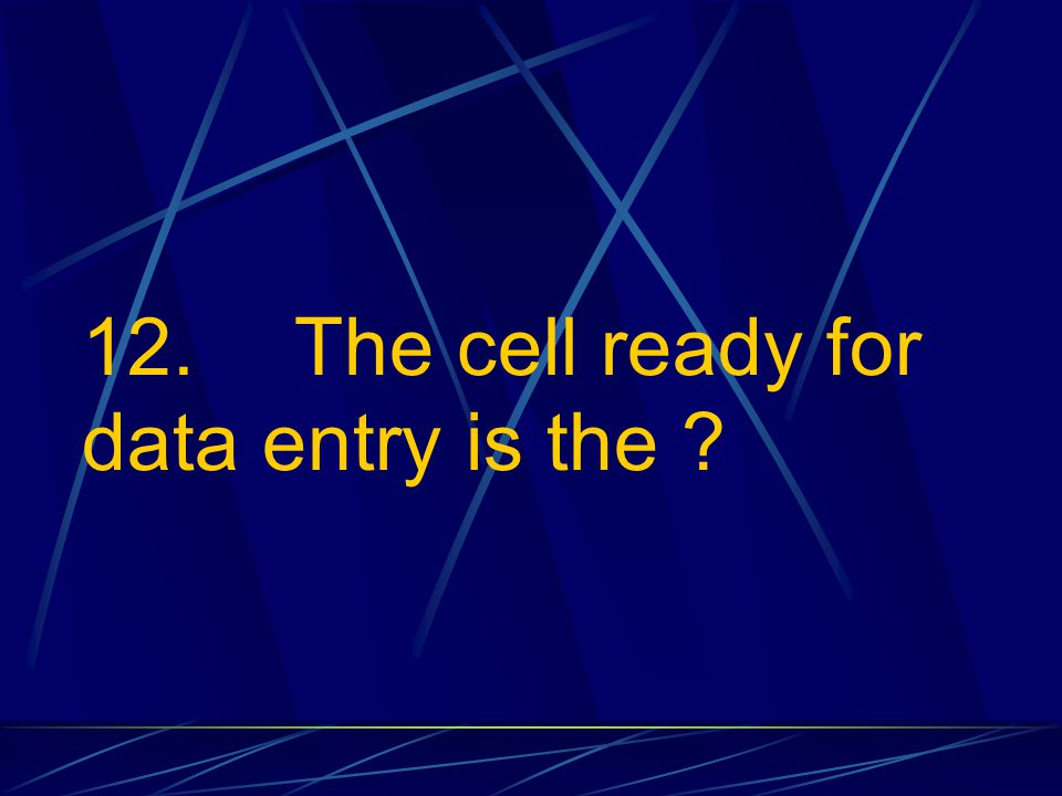 12. The cell ready for data entry is the