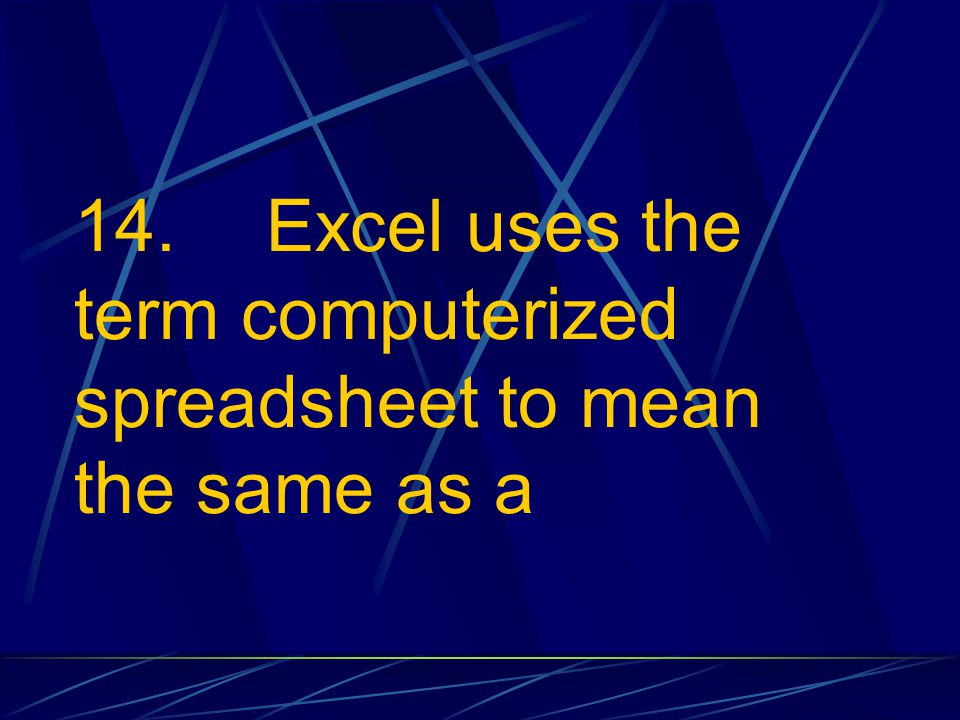 14. Excel uses the term computerized spreadsheet to mean the same as a