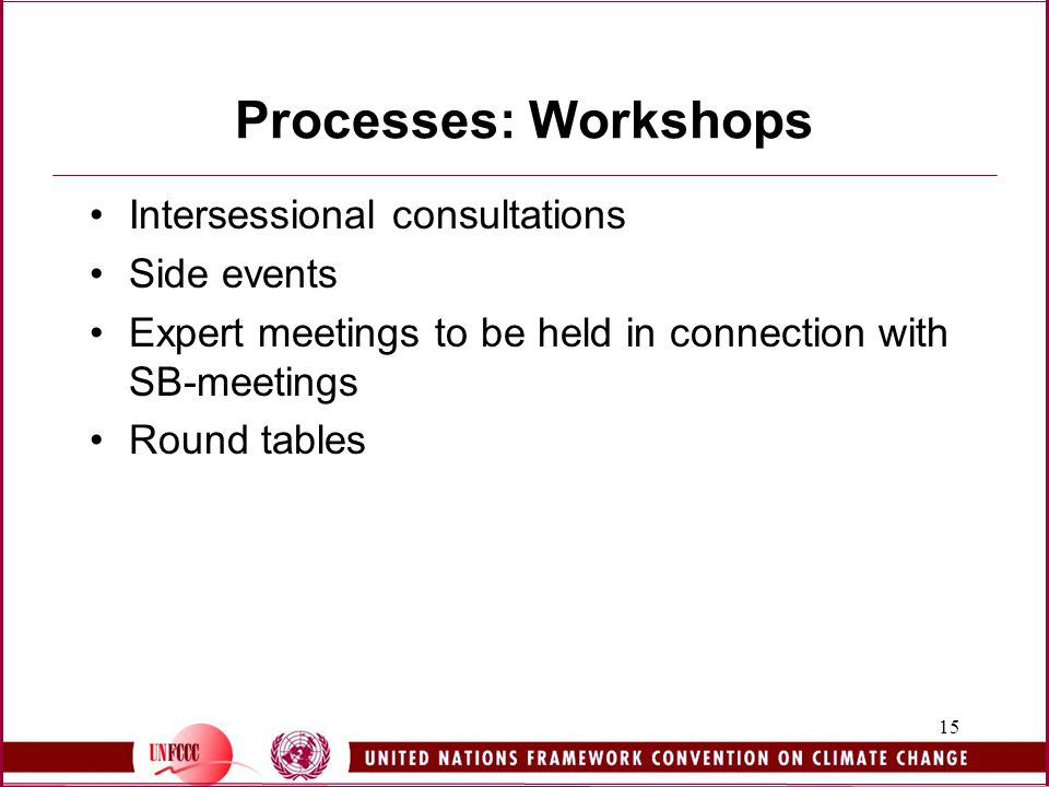 15 Processes: Workshops Intersessional consultations Side events Expert meetings to be held in connection with SB-meetings Round tables