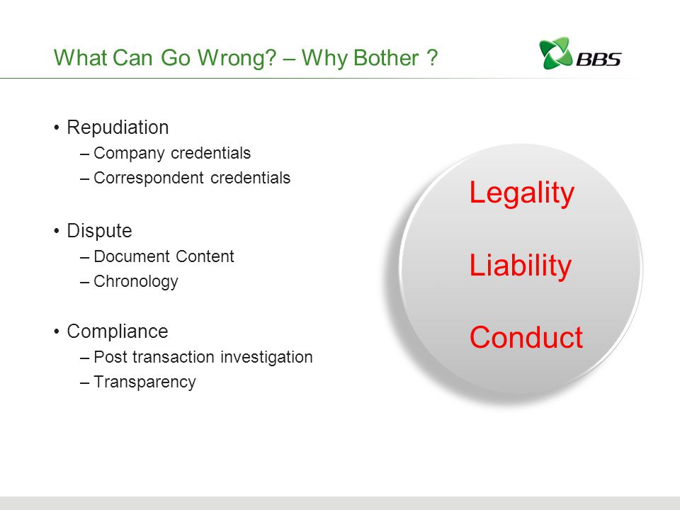 Legality Liability Conduct What Can Go Wrong. – Why Bother .