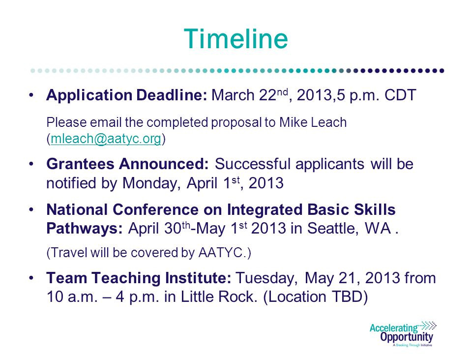 Timeline Application Deadline: March 22 nd, 2013,5 p.m.