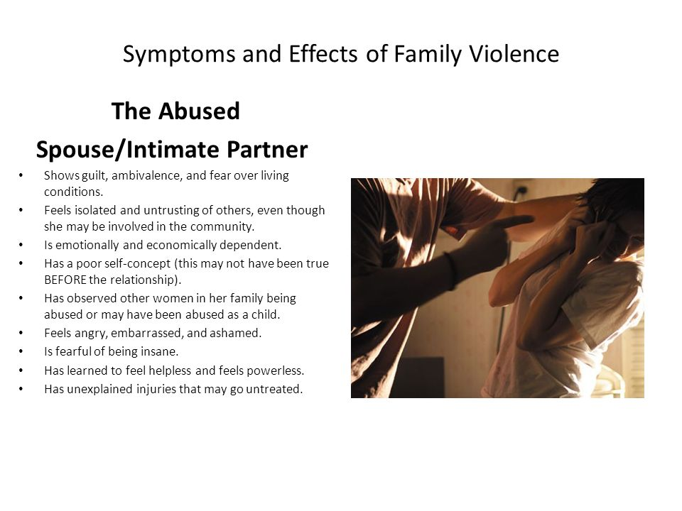 Symptoms and Effects of Family Violence The Abused Spouse/Intimate Partner Shows guilt, ambivalence, and fear over living conditions.