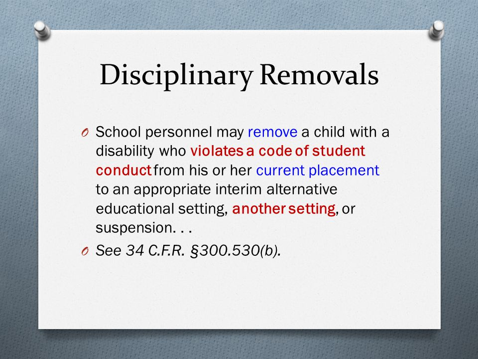 Procedural Safeguards Wyoming Department Of Education State >> Disciplinary Removals Change Of Placement Manifestation