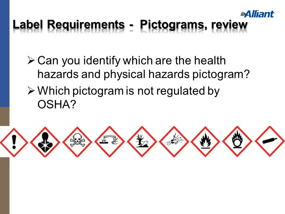  Can you identify which are the health hazards and physical hazards pictogram.