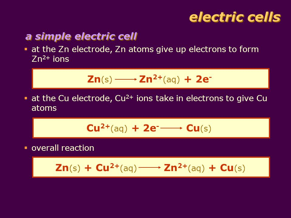 electric cells a simple electric cell  at the Zn electrode, Zn atoms give up electrons to form Zn 2+ ions Zn (s) Zn 2+ (aq) + 2e -  at the Cu electrode, Cu 2+ ions take in electrons to give Cu atoms Cu 2+ (aq) + 2e - Cu (s)  overall reaction Zn (s) + Cu 2+ (aq) Zn 2+ (aq) + Cu (s)