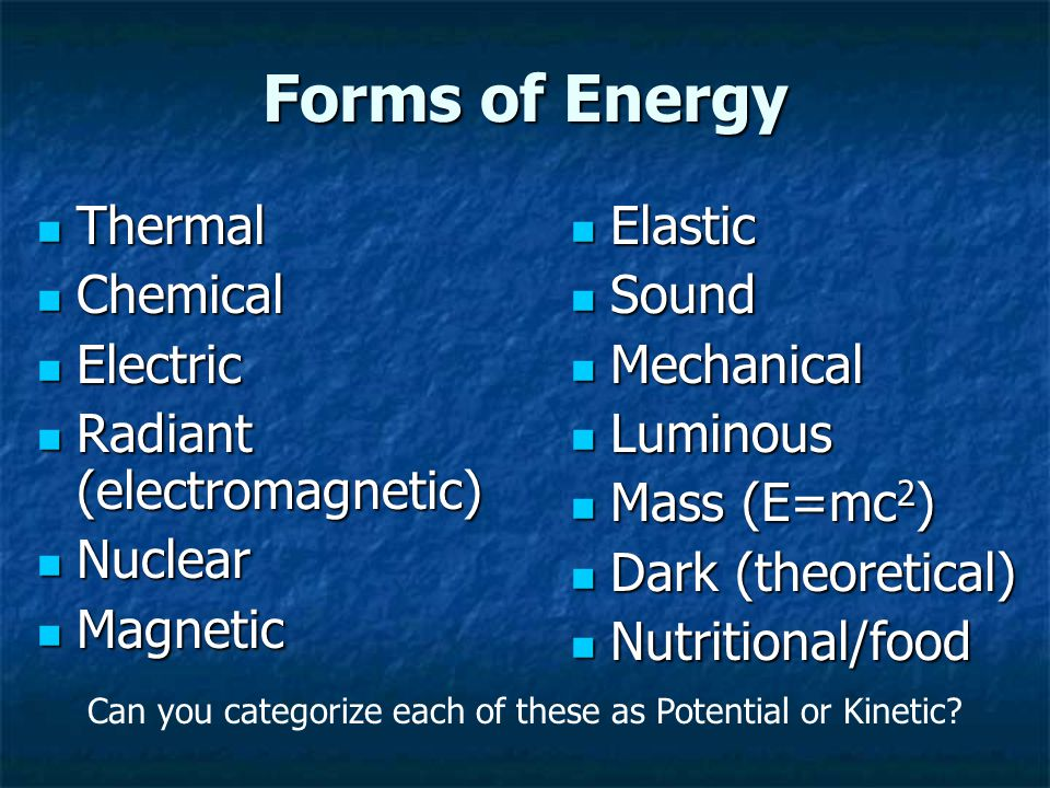 Forms of Energy Thermal Thermal Chemical Chemical Electric Electric Radiant (electromagnetic) Radiant (electromagnetic) Nuclear Nuclear Magnetic Magnetic Elastic Elastic Sound Sound Mechanical Mechanical Luminous Luminous Mass (E=mc 2 ) Mass (E=mc 2 ) Dark (theoretical) Dark (theoretical) Nutritional/food Nutritional/food Can you categorize each of these as Potential or Kinetic