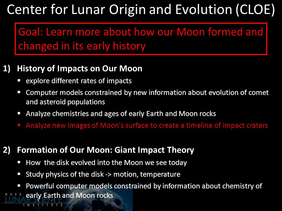 Center for Lunar Origin and Evolution (CLOE) 1)History of Impacts on Our Moon  explore different rates of impacts  Computer models constrained by new information about evolution of comet and asteroid populations  Analyze chemistries and ages of early Earth and Moon rocks  Analyze new images of Moon s surface to create a timeline of impact craters 2)Formation of Our Moon: Giant Impact Theory  How the disk evolved into the Moon we see today  Study physics of the disk -> motion, temperature  Powerful computer models constrained by information about chemistry of early Earth and Moon rocks Goal: Learn more about how our Moon formed and changed in its early history