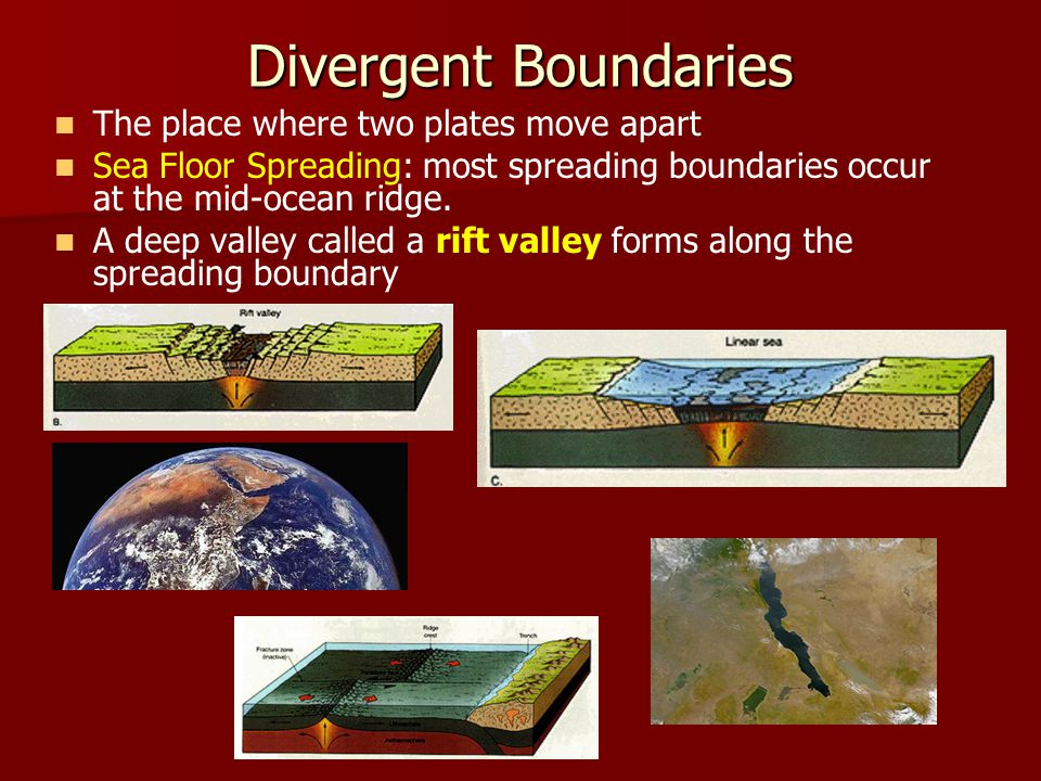 Divergent Boundaries The place where two plates move apart Sea Floor Spreading: most spreading boundaries occur at the mid-ocean ridge.