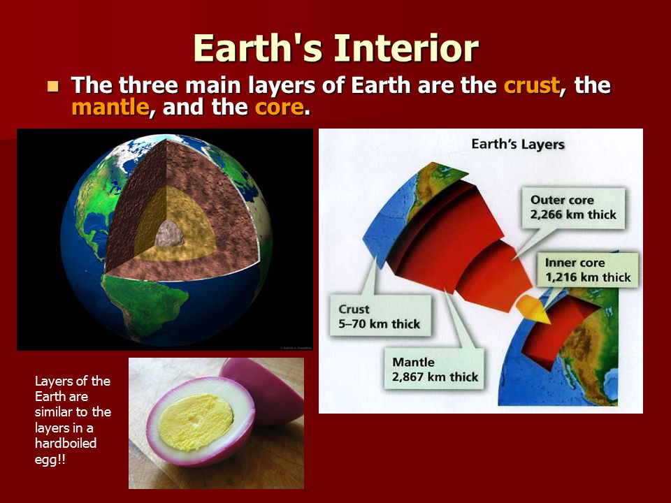Earth s Interior The three main layers of Earth are the crust, the mantle, and the core.