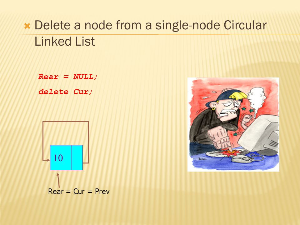  Delete a node from a single-node Circular Linked List Rear = Cur = Prev Rear = NULL; delete Cur; 10