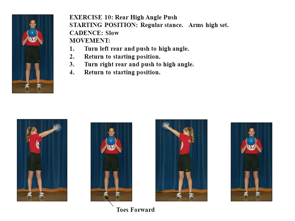 EXERCISE 10: Rear High Angle Push STARTING POSITION: Regular stance.