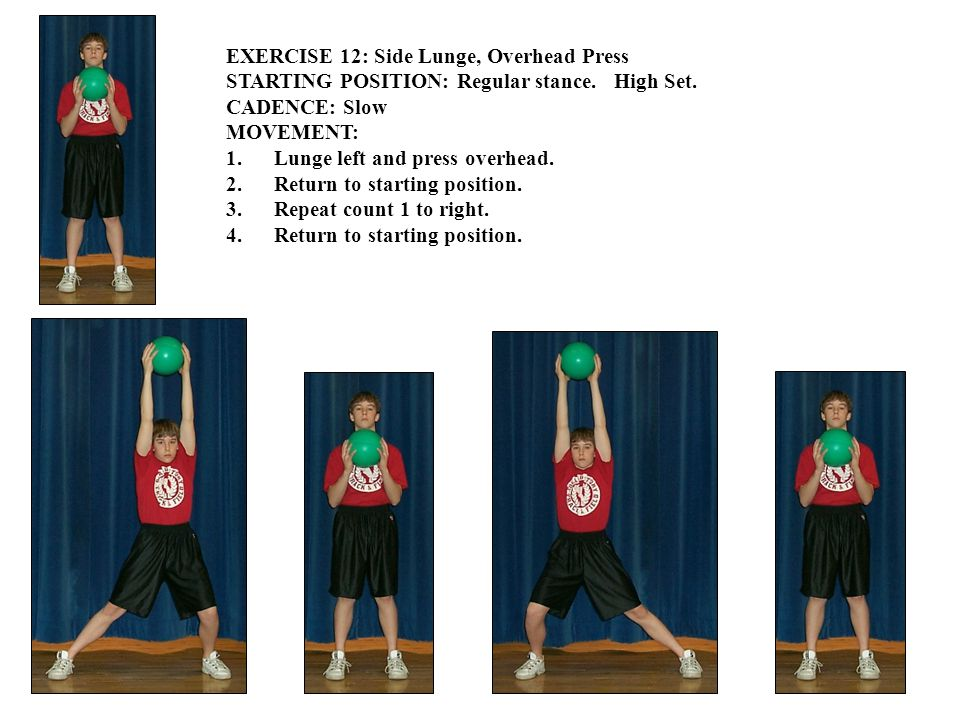 EXERCISE 12: Side Lunge, Overhead Press STARTING POSITION: Regular stance.