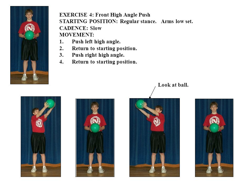 EXERCISE 4: Front High Angle Push STARTING POSITION: Regular stance.