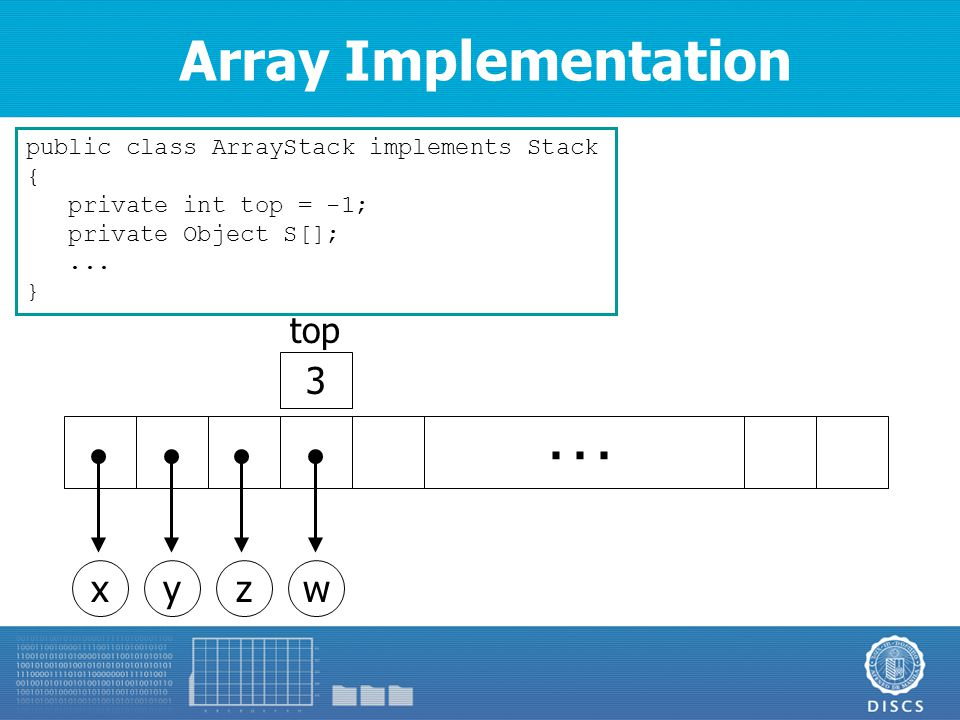 Array Implementation public class ArrayStack implements Stack { private int top = -1; private Object S[];...