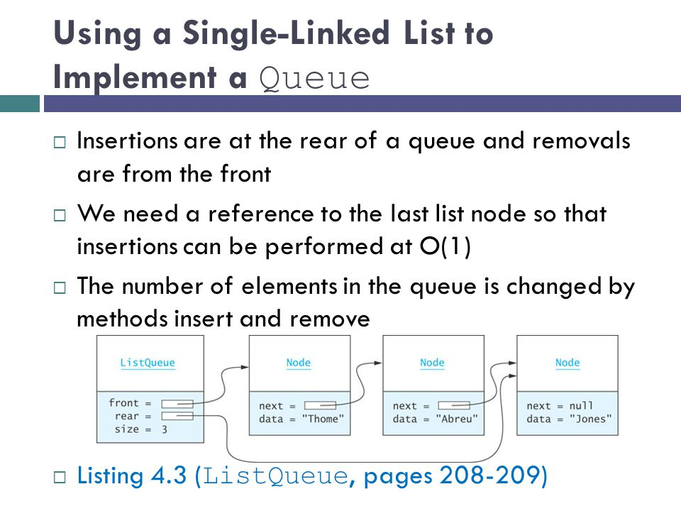 Using a Single-Linked List to Implement a Queue  Insertions are at the rear of a queue and removals are from the front  We need a reference to the last list node so that insertions can be performed at O(1)  The number of elements in the queue is changed by methods insert and remove  Listing 4.3 ( ListQueue, pages )