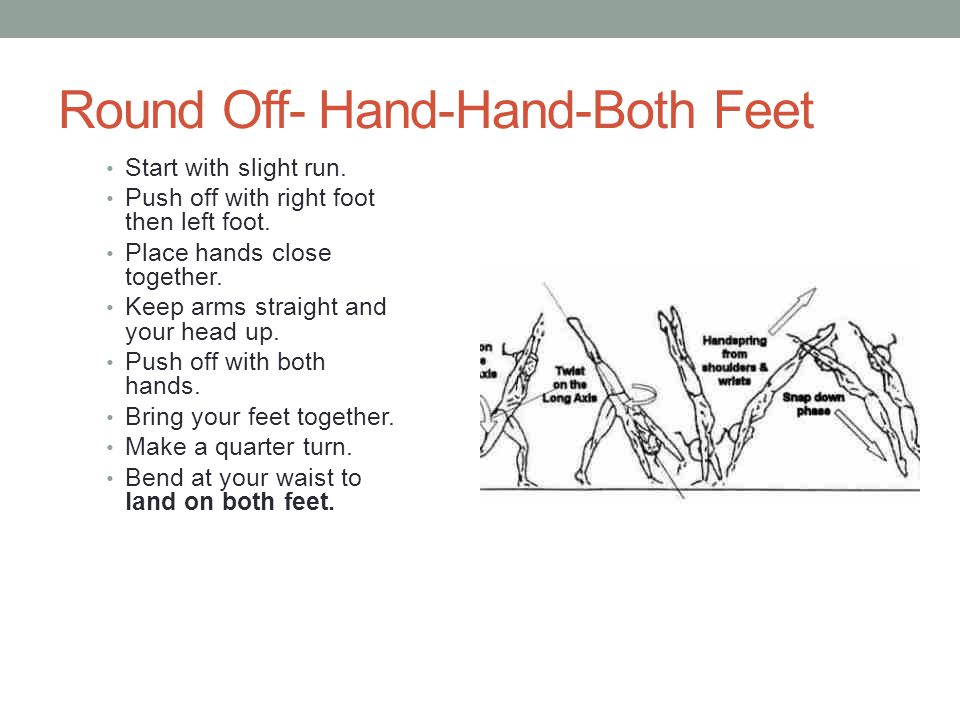 Round Off- Hand-Hand-Both Feet Start with slight run.