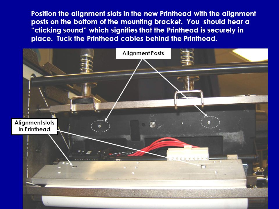7 Position the alignment slots in the new Printhead with the alignment posts on the bottom of the mounting bracket.