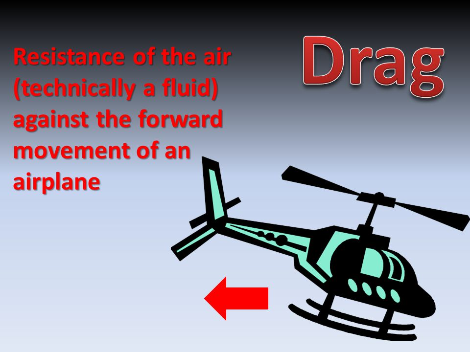 Resistance of the air (technically a fluid) against the forward movement of an airplane