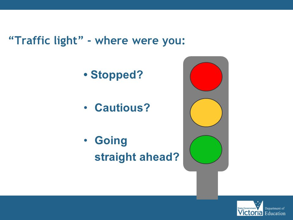 Traffic light - where were you: Stopped Cautious Going straight ahead