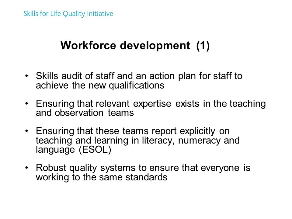 Workforce development (1) Skills audit of staff and an action plan for staff to achieve the new qualifications Ensuring that relevant expertise exists in the teaching and observation teams Ensuring that these teams report explicitly on teaching and learning in literacy, numeracy and language (ESOL) Robust quality systems to ensure that everyone is working to the same standards
