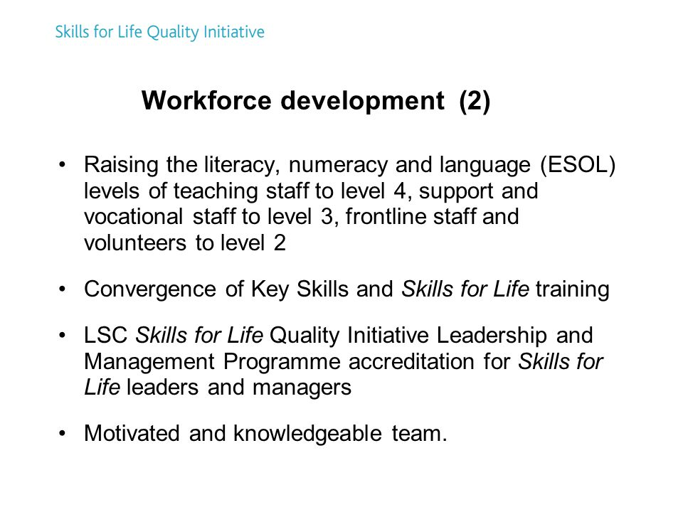 Workforce development (2) Raising the literacy, numeracy and language (ESOL) levels of teaching staff to level 4, support and vocational staff to level 3, frontline staff and volunteers to level 2 Convergence of Key Skills and Skills for Life training LSC Skills for Life Quality Initiative Leadership and Management Programme accreditation for Skills for Life leaders and managers Motivated and knowledgeable team.