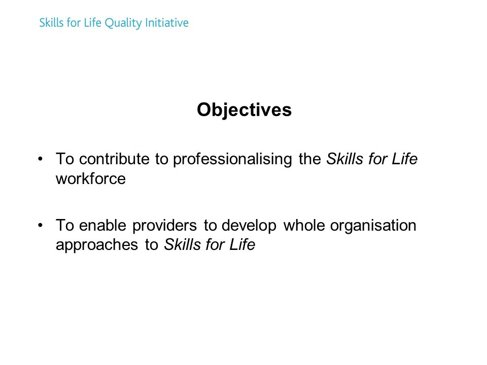 Objectives To contribute to professionalising the Skills for Life workforce To enable providers to develop whole organisation approaches to Skills for Life