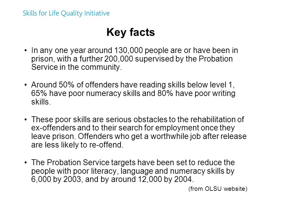 Key facts In any one year around 130,000 people are or have been in prison, with a further 200,000 supervised by the Probation Service in the community.