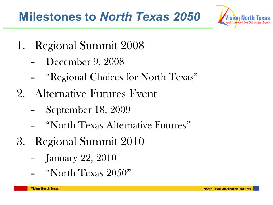 Milestones to North Texas Regional Summit 2008 –December 9, 2008 – Regional Choices for North Texas 2.Alternative Futures Event –September 18, 2009 – North Texas Alternative Futures 3.Regional Summit 2010 –January 22, 2010 – North Texas 2050