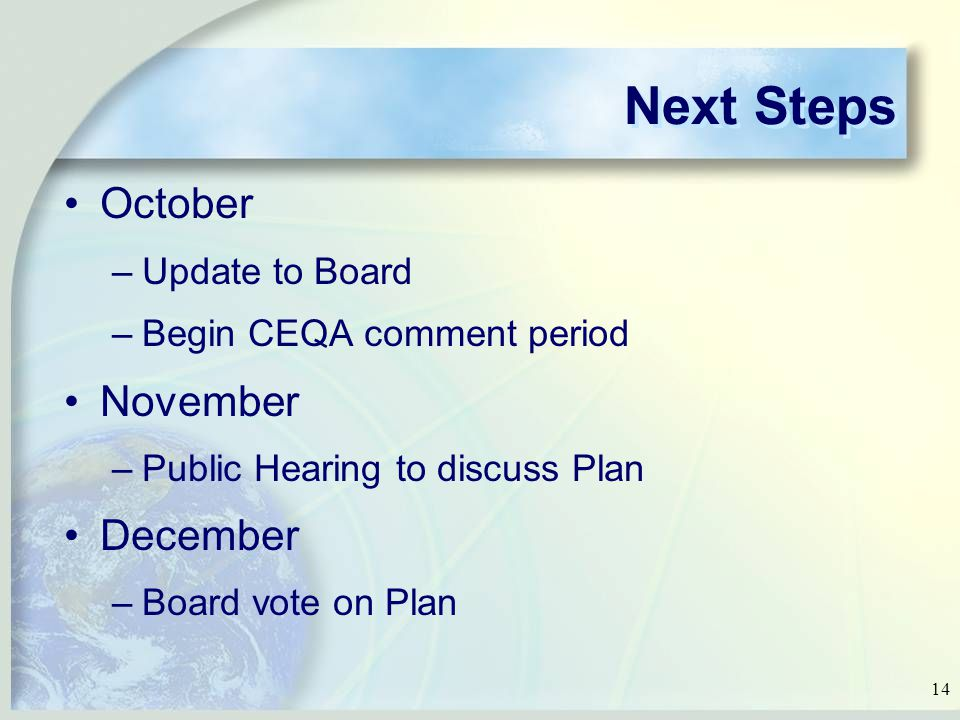 14 Next Steps October –Update to Board –Begin CEQA comment period November –Public Hearing to discuss Plan December –Board vote on Plan