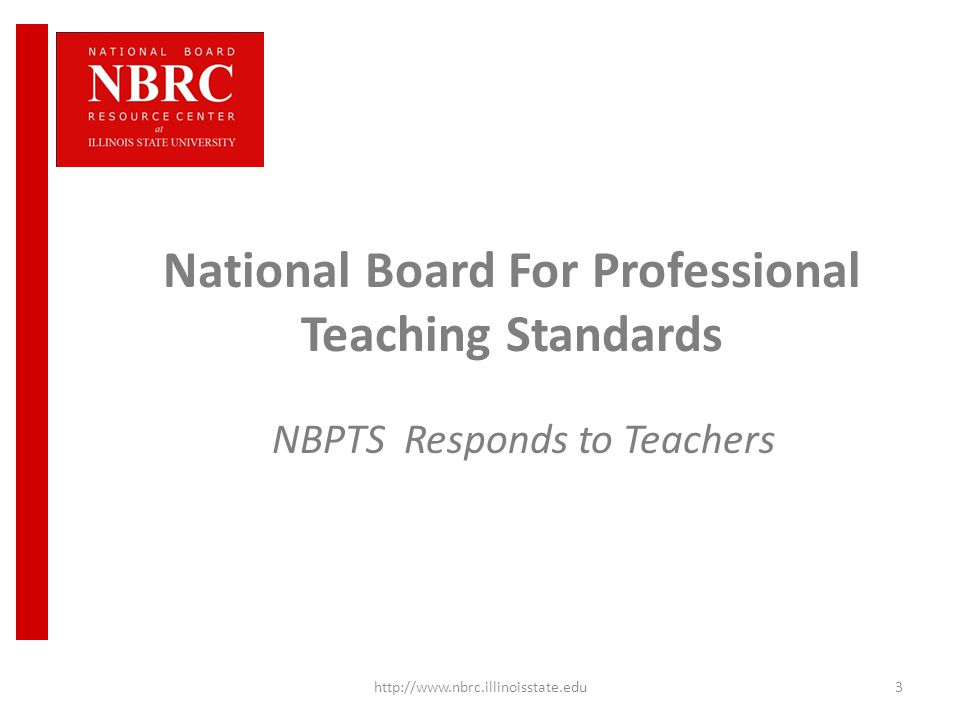 Newly Revised National Board Certification Illinois NBPTS ...