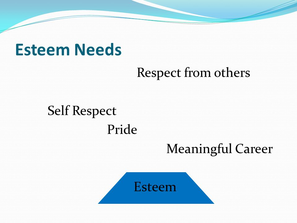 Esteem Needs Respect from others Self Respect Pride Meaningful Career Esteem