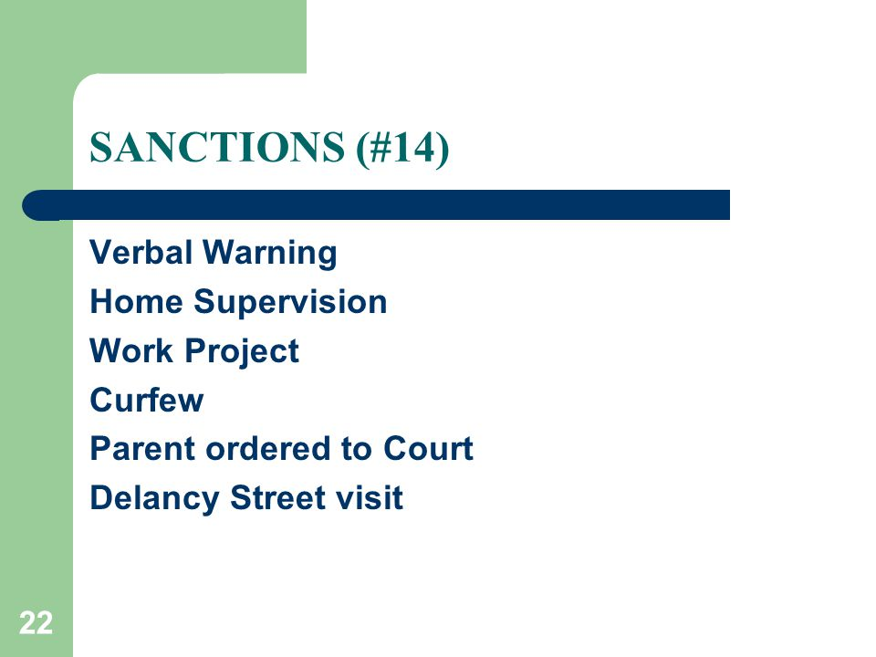 22 SANCTIONS (#14) Verbal Warning Home Supervision Work Project Curfew Parent ordered to Court Delancy Street visit