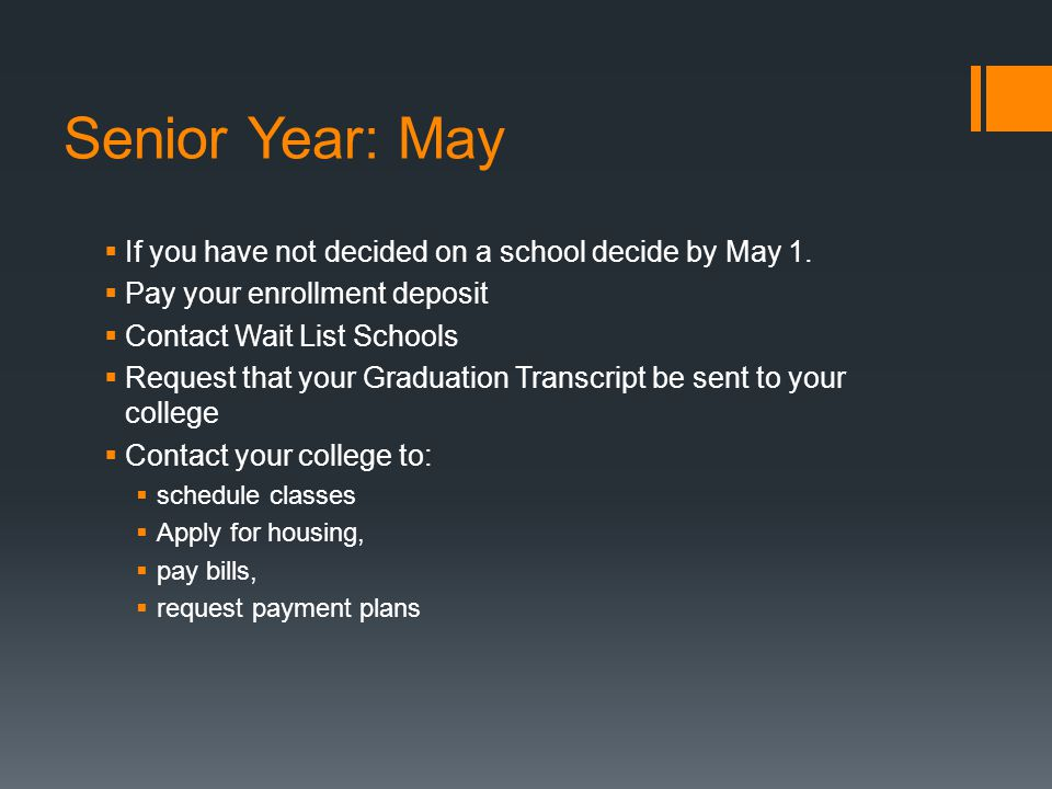 Senior Year: May  If you have not decided on a school decide by May 1.